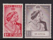 ST LUCIA 1948 KGVI SILVER WEDDING SET LIGHTLY HINGED MINT