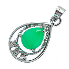 Chinese Emerald Green Jade Jadeite 18K White Gold Plated Teardrop Pendant #014
