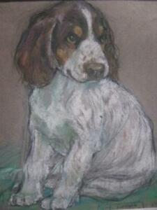 1937 ORIG PASTEL PAINTING  COCKER SPANIEL SWEET PUPPY ARTIST ELEANOR LITCHFIELD