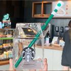 2020 New Starbucks Milk Carton Shaped Glass Cup Creative Simple Straw Cup 400ml