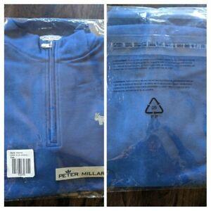 Peter Millar Scotty Cameron 1/4 Quarter Zip Sweater Blue Bulldog (Large)