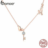 BAMOER Elegance S925 Sterling silver Necklace Key Of Heart Pandent For Jewelry