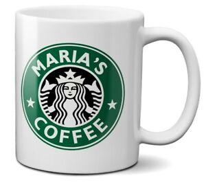 Personalise Your Name Starbucks Inspired Style Coffee Mug Gift 11oz Ceramic
