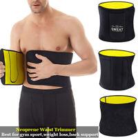 Men Waist Trainer Sauna Weight Loss Belt Slim Body Shaper Tummy Trimmer Band Gym