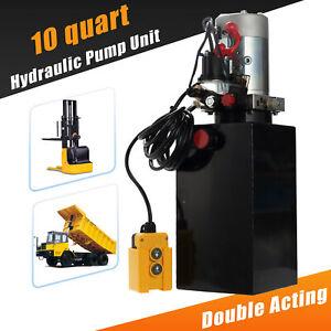 12 Volt Double Acting Hydraulic Pump 12v Dump Trailer - 10 Quart Metal Reservoir