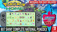 Pokemon Home 807 Pokemon Complete National PokeDex / Living Dex