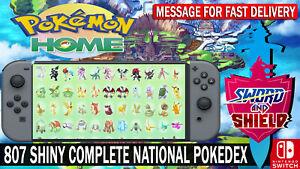 Pokemon Home 807 Pokemon Complete National PokeDex / Living Dex