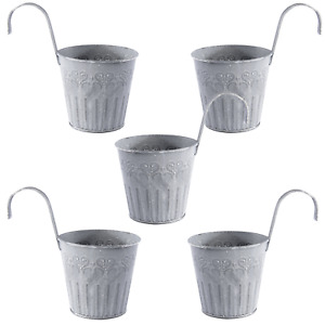 Iron Hanging Flower Pots Set of 5 Fence Plant Pots With Hooks Outdoor Pots M&W