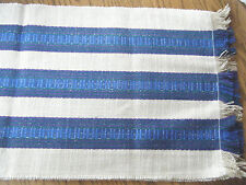 4 VINTAGE TABLE RUNNERS OF BLUE AND TAN - EXCELLENT CONDITION