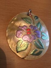 New Mother Of Pearl Painted Shell Pendant Flower Floral Boho Summer Hippy