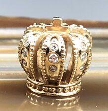 Signed ALE PANDORA 14k 585 Gold Queen's Crown Clear Stone Bracelet Charm NR PJL