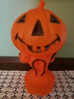 Vintage Halloween Blow Mold Light Up Jack O Lantern Pumpkin Black Cat Trick Old