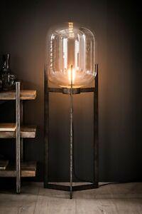 Stehleuchte, Designer Stehlampe, Industrial, Glas, Vintage, Metall, 1 flammig
