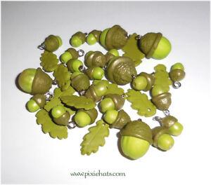 Green acorn charms oak leaves handmade polymer clay beads seasonal jewellery