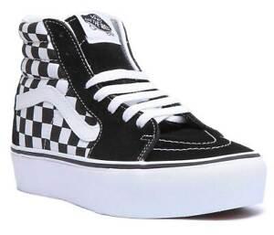 Vans Sk8 Hi Womens Hi Top Platform Trainers In Black Checkered Size UK 3 - 8