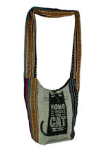 Cat Is Home Tribal Stripe Boho Cotton Crossbody Bag