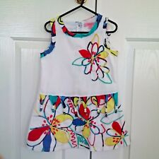 'BEETLEJUICE OF LONDON' GIRLS DRESS, SIZE 5 YRS, WHITE WITH GORGEOUS FLORAL TRIM