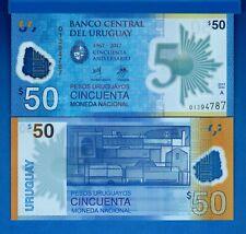 Uruguay P-100 50 Pesos Year 2018 Polymer Uncirculated Banknote
