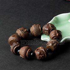 Wood Beads Tibet Buddha Buddhist Bangle Wrist Prayer Chinese wood Bracelet Mala