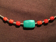 19/20c antique Natural Tibetan Turquoise and coral beads necklace #92603