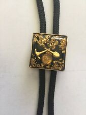Gold Miners Scene & Brass Ends Vintage Black Bolo Tie With Alaskan