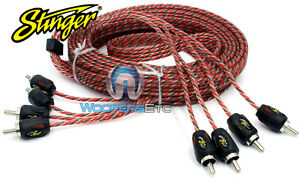 STINGER SI4412 12 FT FEET FOOT 4-CHANNEL 4000 RCA JACK INTERCONNECT CABLE WIRE
