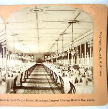 PHOTO STEREO BY KILBURN 1882 GRANDE SALLE à MANGER SARATOGA ÉTAT DE NEW YORK USA