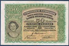SUISSE - 50 FRANKEN Pick n° 34k. du 15-2-1940. en SUP  9Z047340