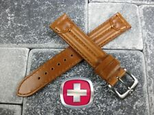 18mm SWISS ARMY CAVALRY MILITARY Leather Strap Watch Band Gold Brown 18 mm