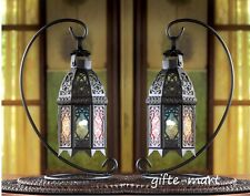 8 black Rainbow color Moroccan Candle holder Lantern wedding table centerpieces