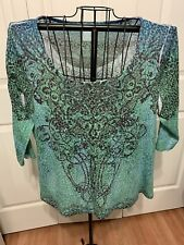 Women's Clothing Blouse Shirt Top Green Blue Black Floral Size XL No Designer