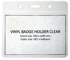 Clear Vinyl ID Card Badge Pass Holder Pocket Plastic Wallet FREEPOST