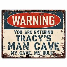 PP3406 WARNING ENTERING TRACY'S MAN CAVE Chic Sign Home Decor Funny Gift