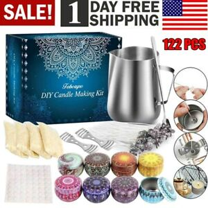 DIY Candle Making Kit Supplies Tools 122PCS Beginners Set Candle Tin Wicks New