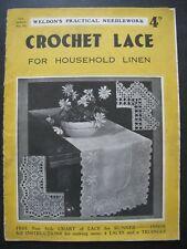 WELDON'S CROCHET LACE for Household Linen - 1930s pattern book
