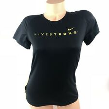 Nike Women's Livestrong Top Shirt Dri Fit Size XS Black Athletic Running A28