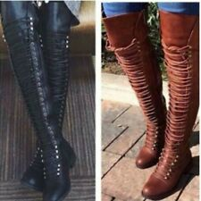 Retro Women Over-the-Knee Boots Lace Up Block Heel Wide Calf Shoes Big Size35-47