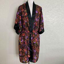 Womens Kimono Robe One Size Purple Black Paisley Floral Tie Close