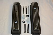 BLACK Small Block Chevy Tall Finned Center Bolt Valve Covers Vortec TBI 350 400