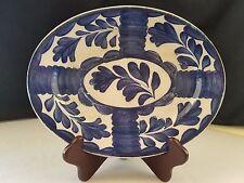 Antique English Pottery-Stylized Cobalt Blue Tulip Platter-Norman W Franks