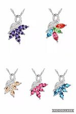 NEW Crystal Rhinestone Cubic Zirconia Gemstone Marquise Flower Necklace Pendant