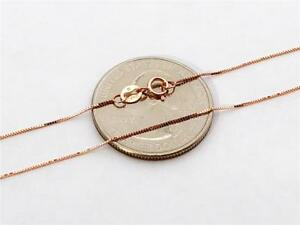 """10K 20"""" Solid Rose Gold Thin Dainty Classic BOX Necklace Chain .5mm 10K Gold"""