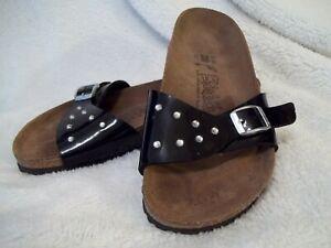 Birki's Birkenstock Madrid Black Patent Leather Rhinestone Slide Sandals Sz 5