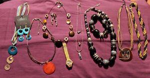 Job lot of Costume Jewellery various items necklaces, bracelet, earrings, watch
