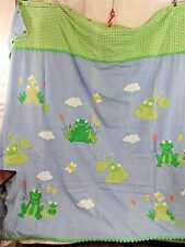 The Company Store Applique Frog Shower Curtain Kids Bathroom Blue Green Gingham