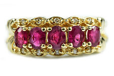 Women's 1.35 ct A Graded Ruby & G/I1 Diamond GIA Spec Band 14k Solid Yellow Gold
