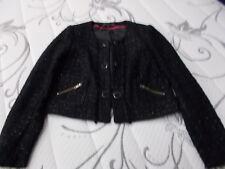 M & S Limited Collection Chanel Stile Giacca Taglia 12, Nero Controllato Sparkle.