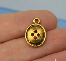 10 Button Charms Sewing Charm Pendants Antique Gold Tone Metal 17 x 12 mm - 160
