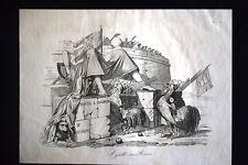 Incisione d'allegoria e satira 4 luglio 1849, Francesi a Roma Don Pirlone 1851