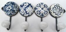 Hakenleiste Wandhaken Keramik Metall blau weiß Landhaus Handtuchhalter